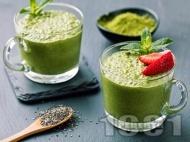 Рецепта Вкусен и лесен зелен чия пудинг с йогурт, кленов сироп, ядково мляко, банан и бейби спанак